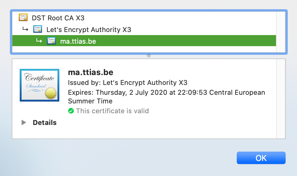 Certificate chain for ma.ttias.be