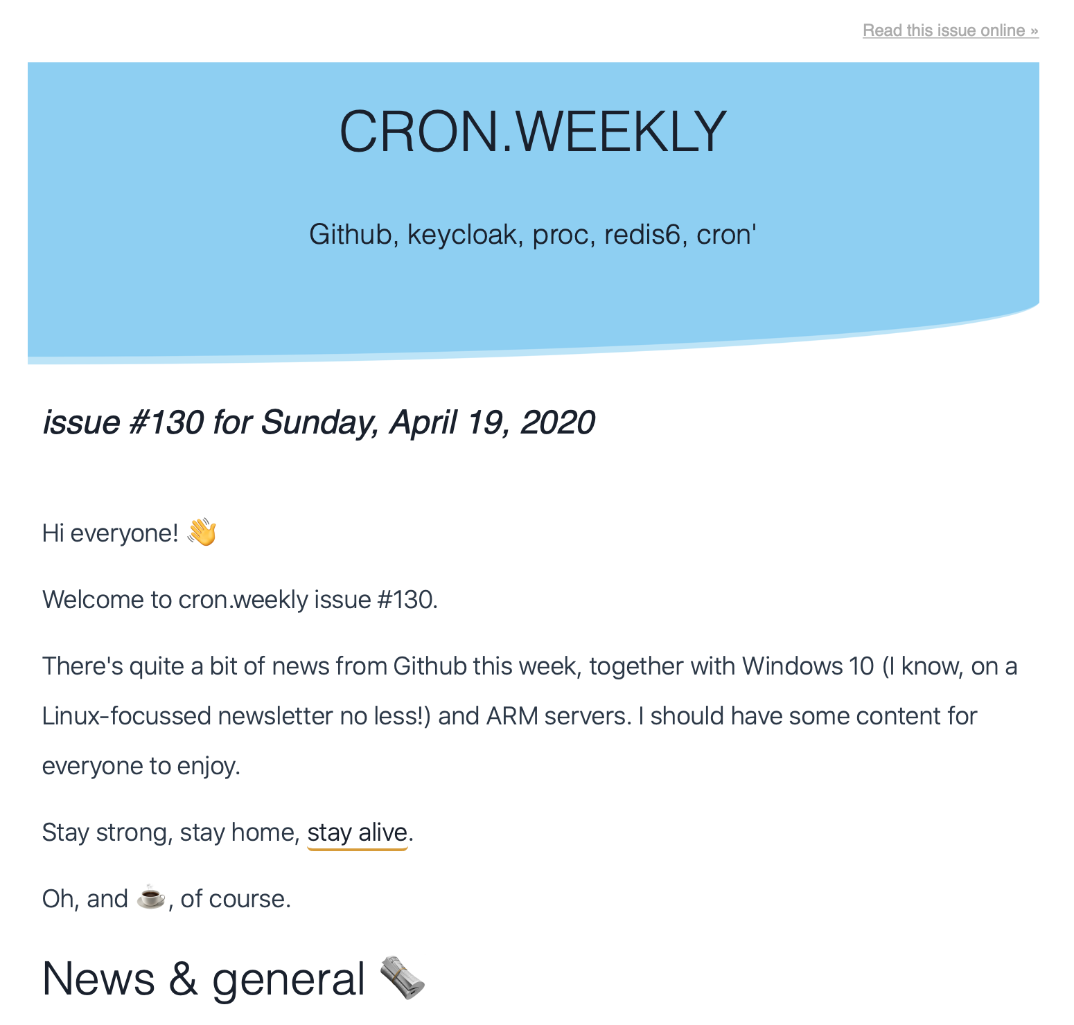 HTML view of the cron.weekly newsletter