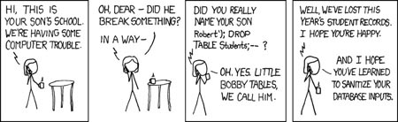 XKCD - Hacked, SQL Injection