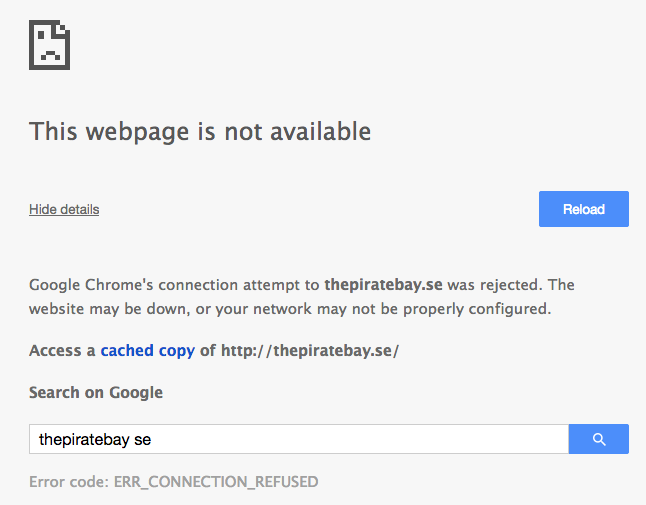 The Pirate Bay Goes Down