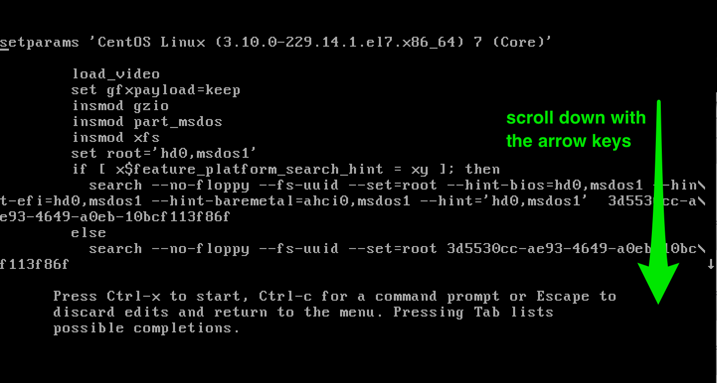 Boot in single user mode on CentOS 7 / RHEL 7