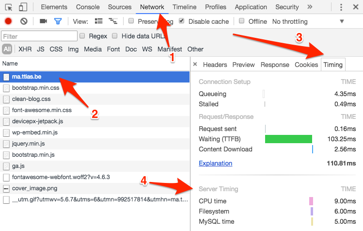Server-side timings in the Chrome Devtools